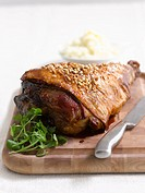 A leg of lamb with nuts