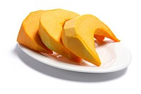 Plate of Pumpkin Slices on White Background