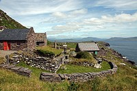 Republic of Ireland, County Kerry, Ballinskelligs. Cill Rialaig, an 18th century deserted village destined for demolition until rescued by arts patron...