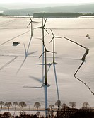 Aerial view, Haarstrang wind turbines, snow, Soest, North Rhine_Westphalia, Germany, Europe