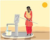an illustration of an asian woman pumping water from a well in india