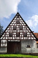 Old Franconian half_timbered house on a farm, Sendelbach, Middle Franconia, Bavaria, Germany, Europe