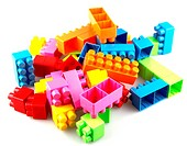 Toy building blocks on white background