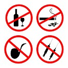 Vector of: No smoking, No alcohol and no drugs signposts