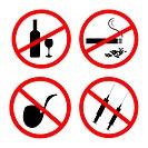 Vector of: No smoking, No alcohol and no drugs signposts