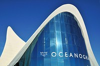 Entrance to the Oceanografic marine park, Ciudad de las Artes y las Ciencias, City of Arts and Sciences, designed by Spanish architect Santiago Calatr...