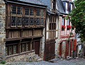 Row of houses with half_timbered buildings in Dinan, Brittany, France, Europe
