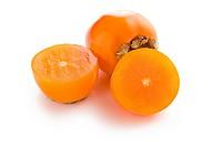 photo shot of cut persimmon fruit