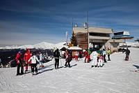 Summit station of the chair lift, skiing school, meeting point, 2060m, Helm mountain, Sexten Dolomites nature reserve, Vierschach, Sextental valley, p...