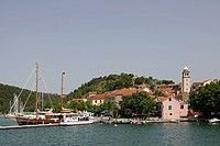 Harbour and river Krka, Skradin, Dalmatia, Croatia, Europe