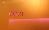 Men sign on door