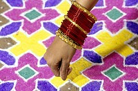 India. Diwali Festival. Rangoli And Woman´S Wrist With Bangles