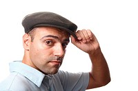 casual man portrait with hat in white background