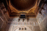 Sala de los Embajadores, Ambassador Room in the Moorish King's Palace of Real Alcazar, UNESCO World Heritage Site, Seville, Andalusia, Spain, Europe