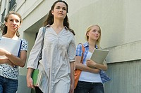 Female college students walking outdoors