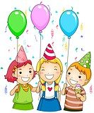 Illustration of Kids Holding Colorful Balloons at a Party