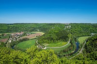 View of the upper Danube valley and the town of Beuron as seen from Jaegerfelsen rock, Baden_Wuerttemberg, Germany, Europe