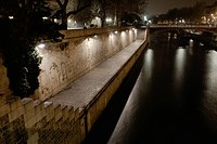 Seine river by night, Paris, France