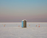 Portable toilet and traffic cones on salt flats. Speed Week, an annual amateur auto racing event on the Bonneville Salt Flats. Bathroom facilities. Ra...
