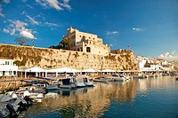 Seaport of Ciutadella city at Menorca island in Spain