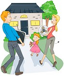 Family moving to a New House _ Vector