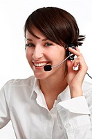 joyful woman operator with headset _ microphone and headphones, on white