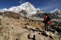 hiker in Nepal landscape