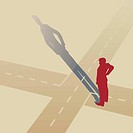 Vector illustration of a man standing at a crossroads