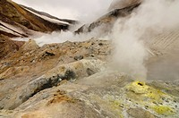 steam evaporating in Mutnovsky volcano area on Kamchatka