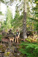 woman, forest, dog, nature, hiking, model release, Bend, Oregon, USA, United States, America, North America,