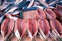 Brazil, Rio de Janeiro, seafood for sale at market, near Ipanema Beach.