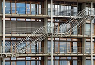 Staircase, facade of the library of the Institute for World Economics, Kiel, Schleswig_Holstein, Germany, Europe