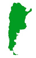 Outline map of Argentina country in green, isolated on white background.