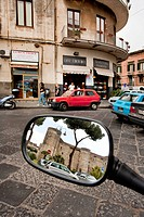Castello Ursino Castle, seen through the rear-view mirror of a Vespa, Catania, Sicily, Italy, Europe