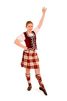 A Teenage Irish Dancer in Celtic Costume