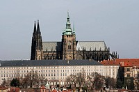 Hradcany _ Cathedral of Saint Vitus in the Prague castle _ the coronation cathedral of the Bohemian sovereigns, and the main of the Prague Roman _ Cat...