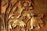 Ancient brick carving art of lotus flowers