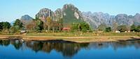 Laos, Asia, Vang Vieng, Xong, river, flow, mountains, scenery, landscape, agriculture