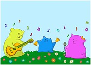 Family of animals_pillows: the father, mother and the son give a musical concert