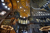Interior view, dome, pendentives, Hagia Sophia, Ayasofya, UNESCO World Heritage Site, Istanbul, Turkey, Europe