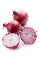 the sliced red onion on white background