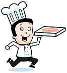 A cartoon chef with a pizza.