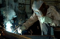 man in a mask made by welding