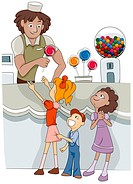 Illustration of Kids Buying Candy from a Candy Shop