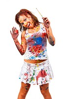 Happy girl, she is all smeared in paint