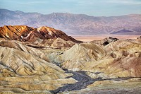 CA, Death Valley NP, Amargosa Range at Zabriskie Point with Panamint Range in background