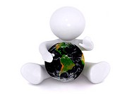 Aadmii protecting plant earth. Nature concept image with a white background.