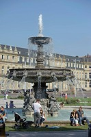 Schlossplatz square with a fountain, Stuttgart, Baden-Wuerttemberg, Germany, Europe