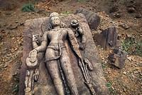 Boulder with relief, Bodhisattva Avalokiteshvara, archaeological site, former Buddhist monastery, Ratnagiri, Orissa, East India, India, Asia