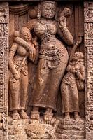 Goddess Yamuna, archaeological site, former Buddhist Monastery, Ratnagiri, Orissa, East India, India, Asia